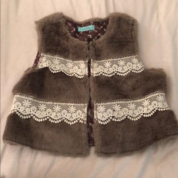 Karlie Jackets & Blazers - Faux Fur Vest with Lace Details